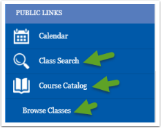 Class Search, Course Catalog, Browse Classes links