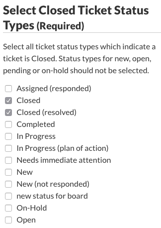 Select Closed Ticket Status Types