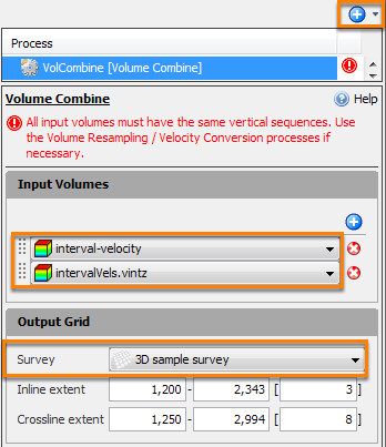 Velocity volume combine for time/depth conversion