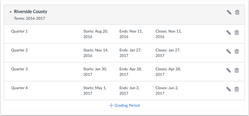 View Concluded Grading Periods