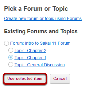 Click Use Selected Item.