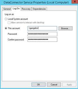 If Windows Authentication is used, associate Data Connector to the Account