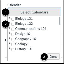 Seleccionar calendarios