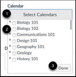Sélectionner des calendriers