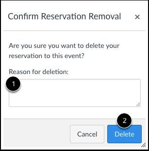 Reservering verwijderen