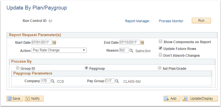 Update by Plan/Paygroup page