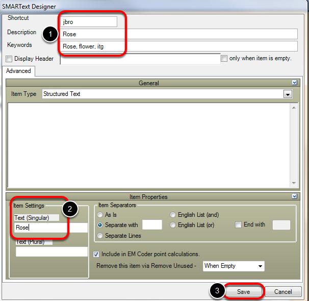 SMARText Designer: Structured SMARText Items