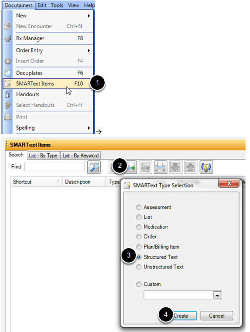 Step 1 - Create Structured Text Items