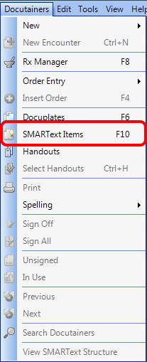 Open the SMARText Items Manager