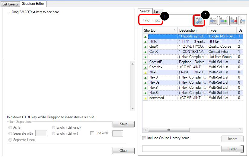 Editing a SMARText Item in Strcutred Editor