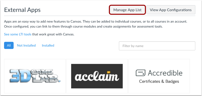 Manage App List