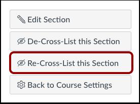 Re-Cross-List Section