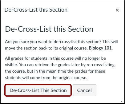 Confirm De-Cross-Listing