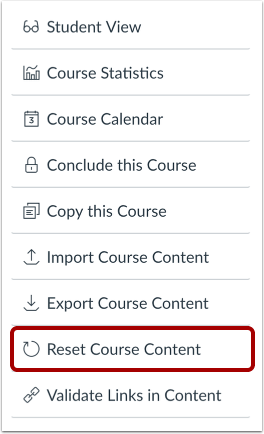 Reset Course Content
