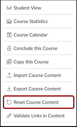 Restablecer el contenido del curso