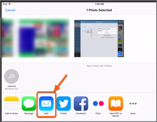 Emailing your iPad Screenshot