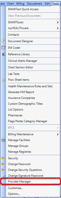 Insert Code in Provider Manager