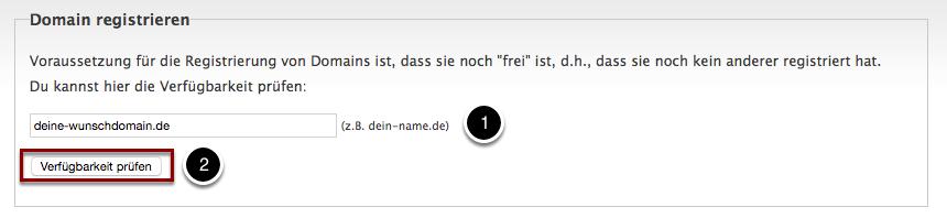 Verfügbarkeit der Domain abfragen.