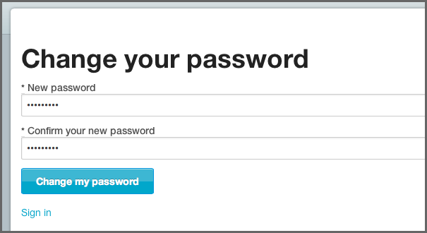 Input and confirm your new password on the Change your Password Page