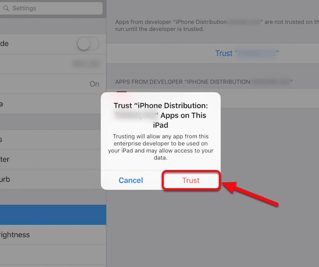 "Tap ""Trust"" on the pop-up window"