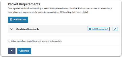 Create a packet of required candidate documents and forms