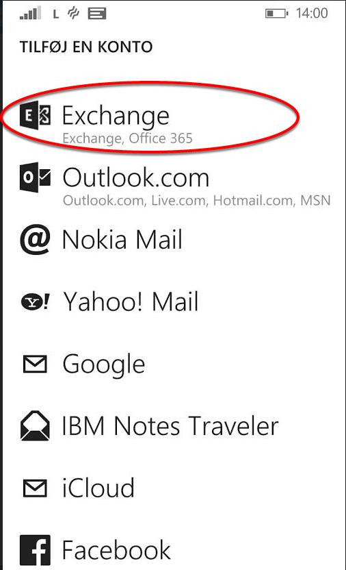 Vælg Exchange