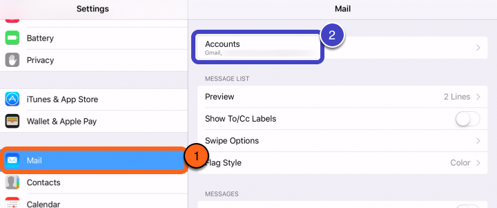 "3. Tap on ""Mail, Contacts, Calendars"" tab on your left."