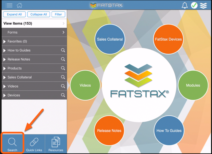 Open FatStax and tap Search button