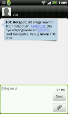 Du modtager efter kort tid en sms med login-oplysninger
