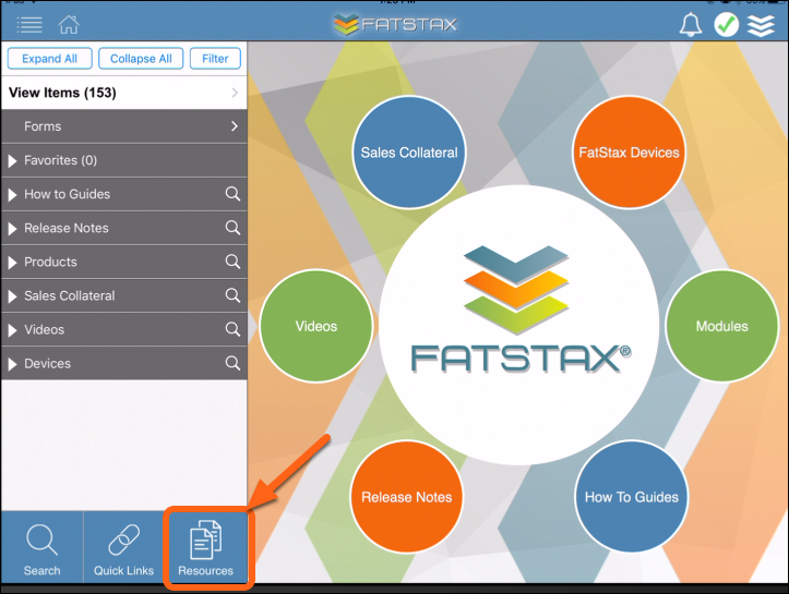 In FatStax, select the Resources button