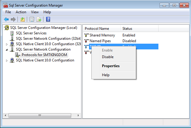 Enable TCP/IP in the SQL Server