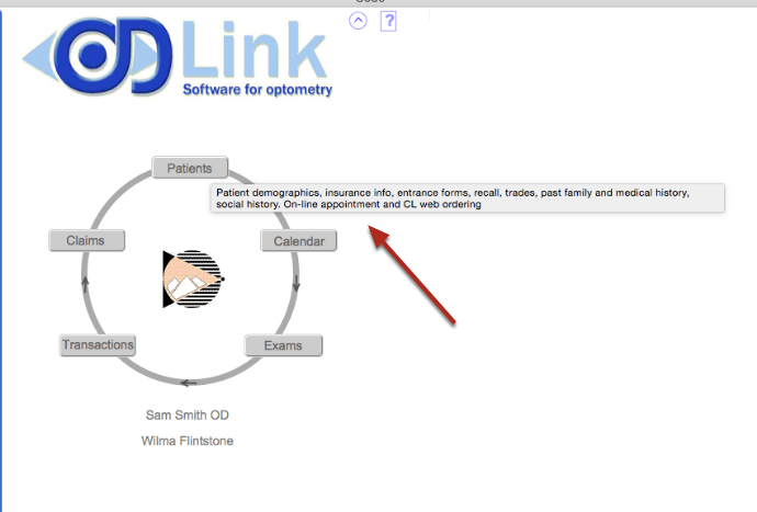 Touch the mouse to an object for an explanation (called rollovers). Most icons in OD Link have rollovers.