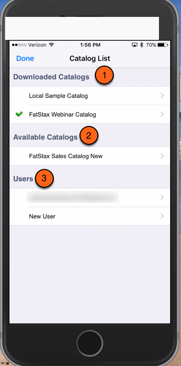 There are three sections: Downloaded Catalogs, Available Catalogs, and Users
