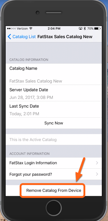"""At the bottom of the page - tap """"Remove Catalog From Device"""""""