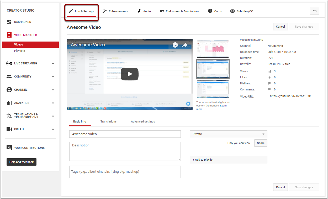 Video editor page highlighting the Info and Setting tab located at the top left of the page.