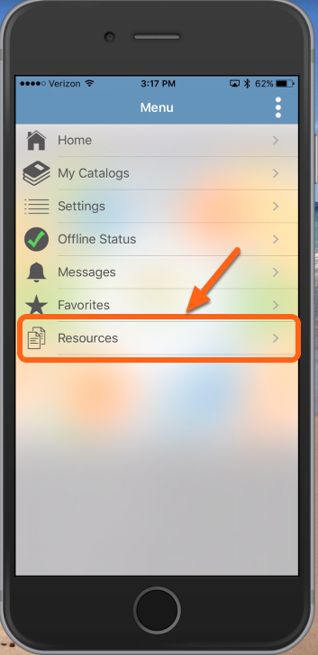 "Tap ""Resources"" to open the Library"