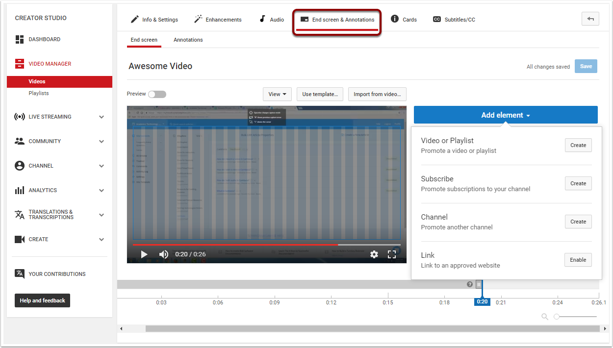 Video Editor page highlighting End screen and Annotations tab