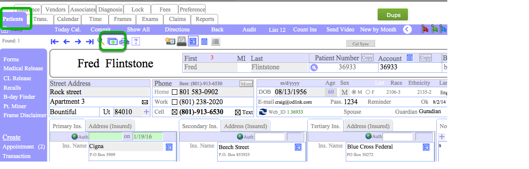 Enter a new patient into OD Link
