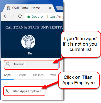 Titan Apps Employee is selected.