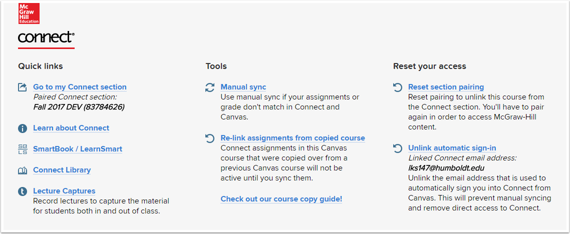 McGraw-Hill Connect Help Links