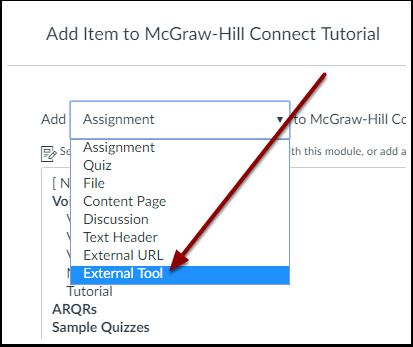 Canvas External Tool Module Item