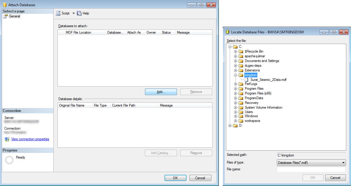 Select database file to attach