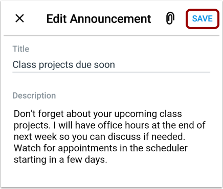 Save Announcement