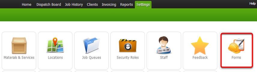 Click Forms under Settings menu