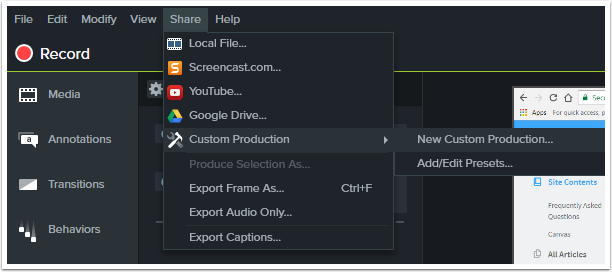 Select share in the navigation and then custom production in the drop down menu