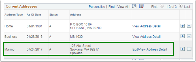 Current Addresses section