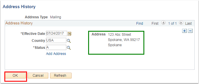 Address History section