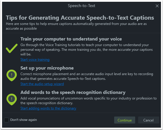Tips for Speech-to-Text