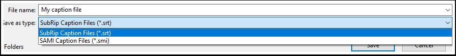 Saving caption file as .srt file type
