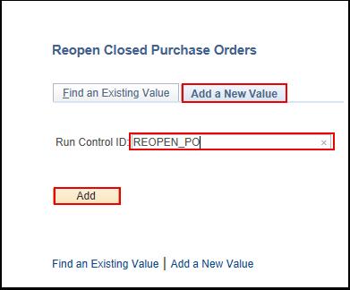 Enter Run Control ID Information